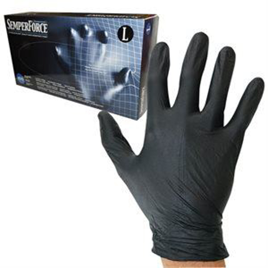 Picture of SemperForce Black Nitrile Gloves Box of 100