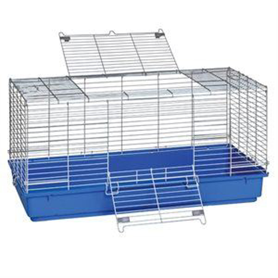 Picture of Blue Plastic Bottom Rabbit Cage--Large