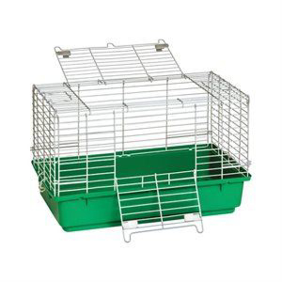 Picture of Green Plastic Bottom Rabbit Cage--Small